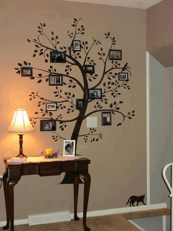 Arbol pintado en la pared con fotos trukos - Reloj pintado en la pared ...